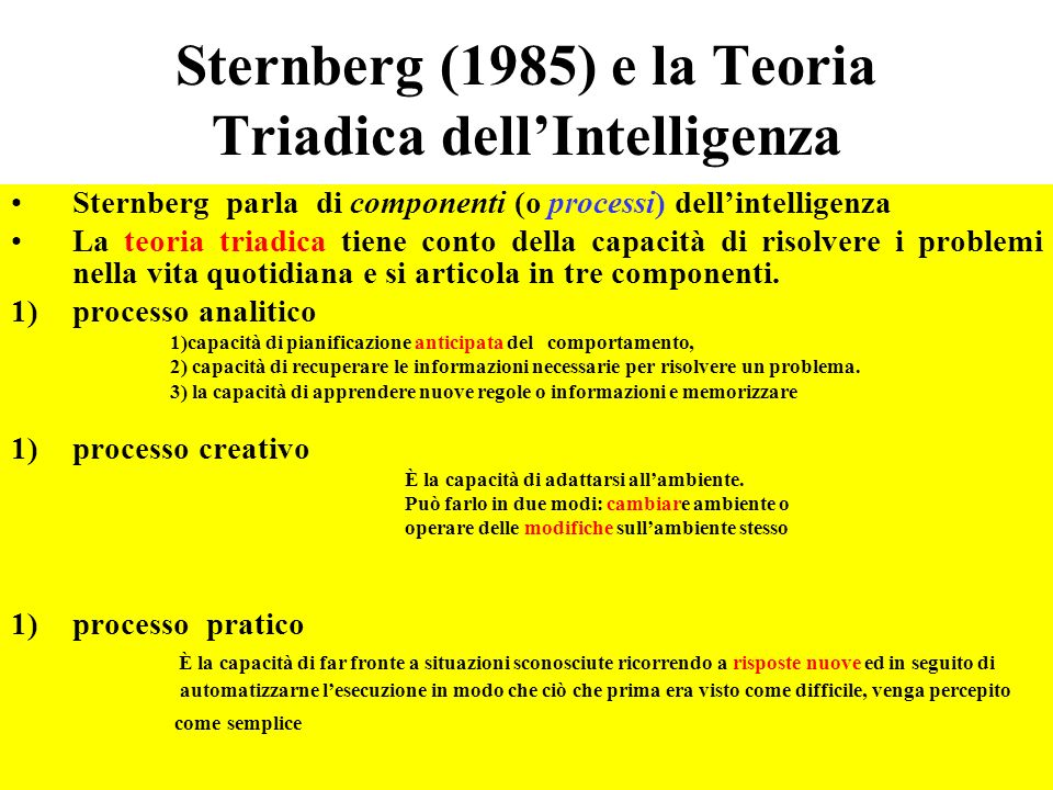 Sternberg (1985) e la Teoria Triadica dell'Intelligenza
