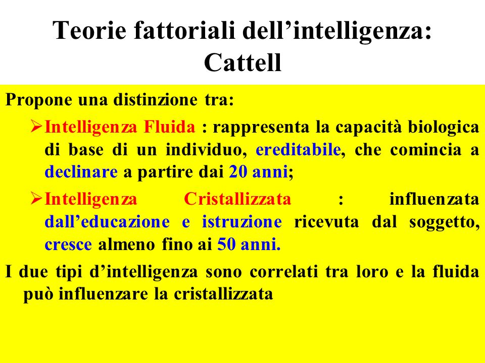 Teorie fattoriali dell'intelligenza: Cattell