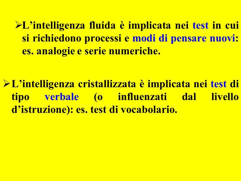L'intelligenza fluida è implicata nei test in cui si richiedono processi e modi di pensare nuovi: es. analogie e serie numeriche.