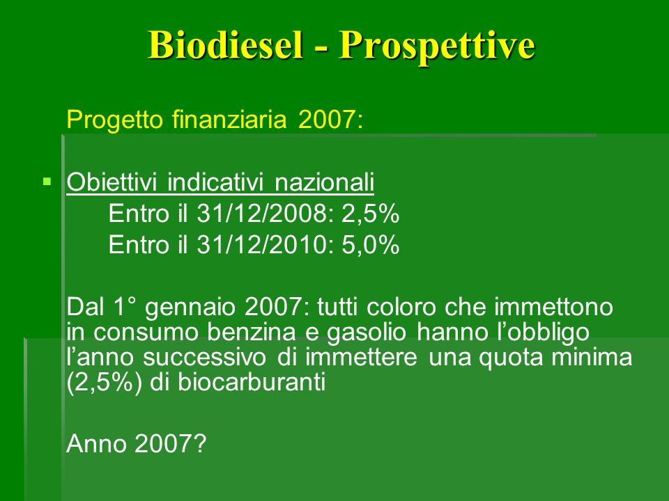 Biodiesel - Prospettive