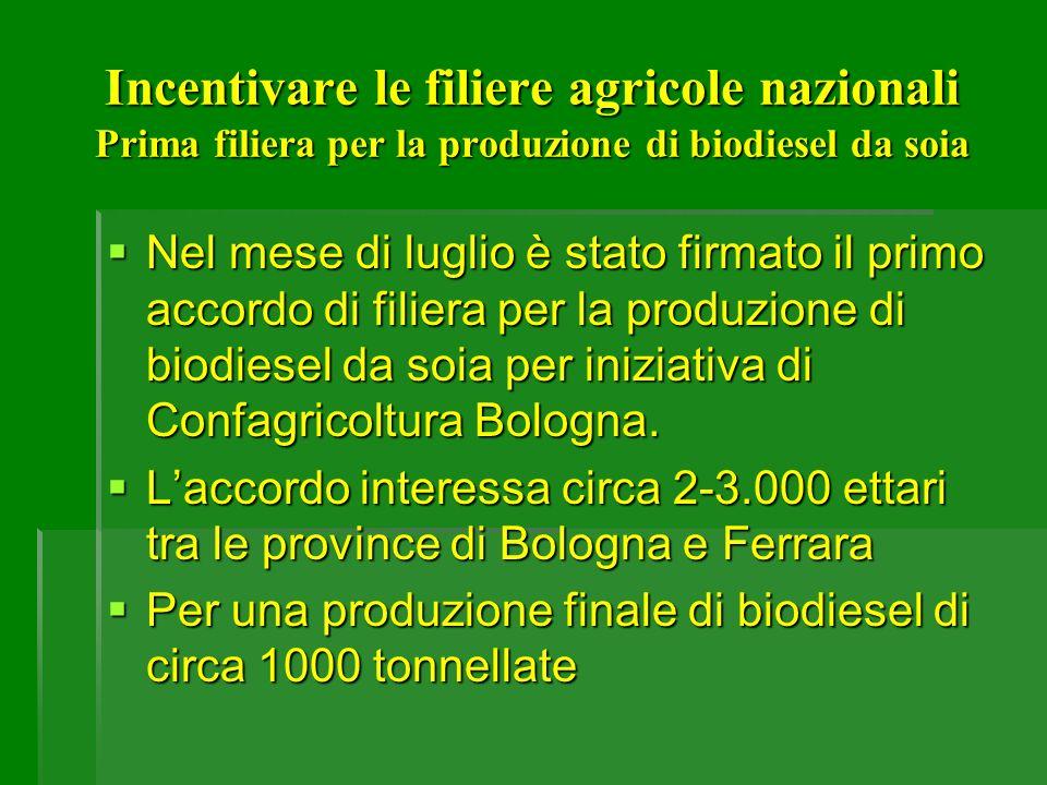 Incentivare le filiere agricole nazionali Prima filiera per la produzione di biodiesel da soia