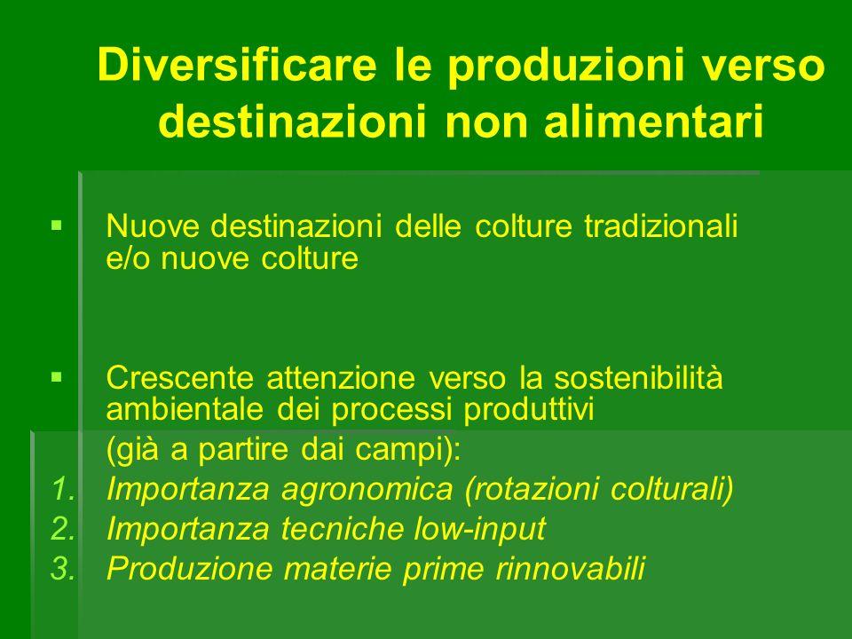 Diversificare le produzioni verso destinazioni non alimentari