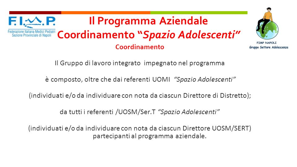 Il Programma Aziendale Coordinamento Spazio Adolescenti