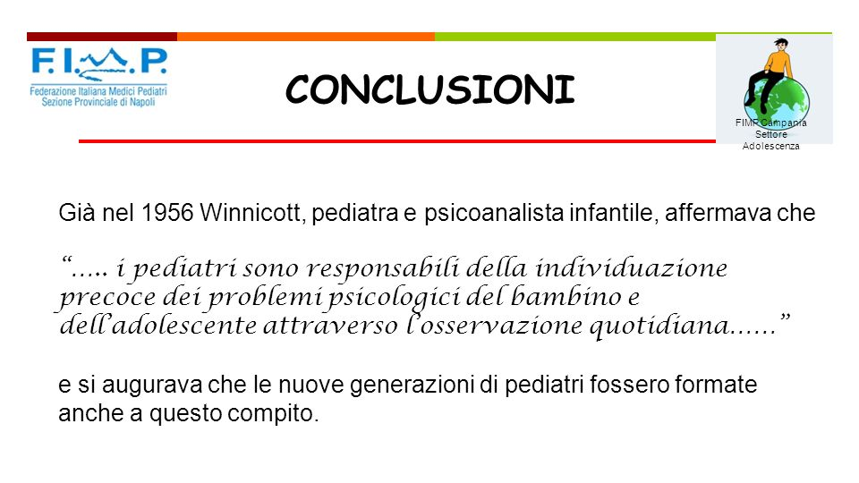 09/05/13 CONCLUSIONI. FIMP Campania. Settore Adolescenza. Già nel 1956 Winnicott, pediatra e psicoanalista infantile, affermava che.