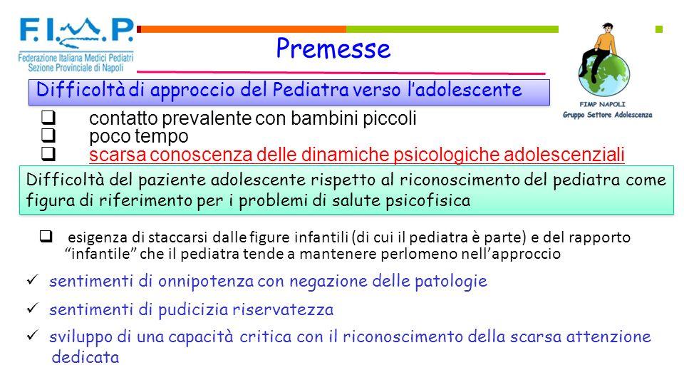 Premesse Difficoltà di approccio del Pediatra verso l'adolescente