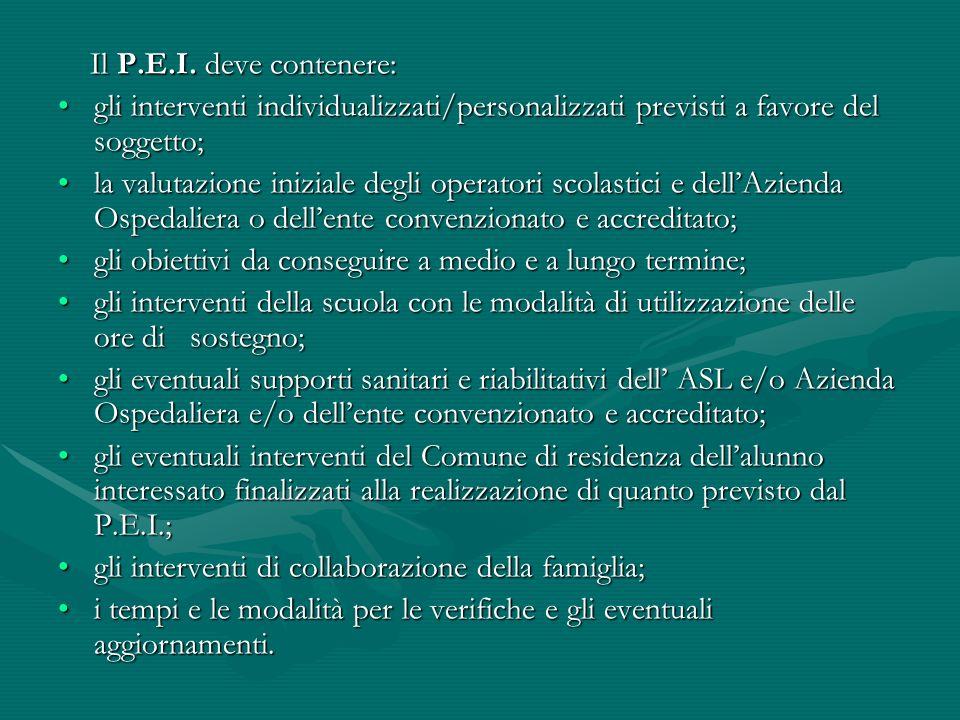 Il P.E.I. deve contenere: gli interventi individualizzati/personalizzati previsti a favore del soggetto;