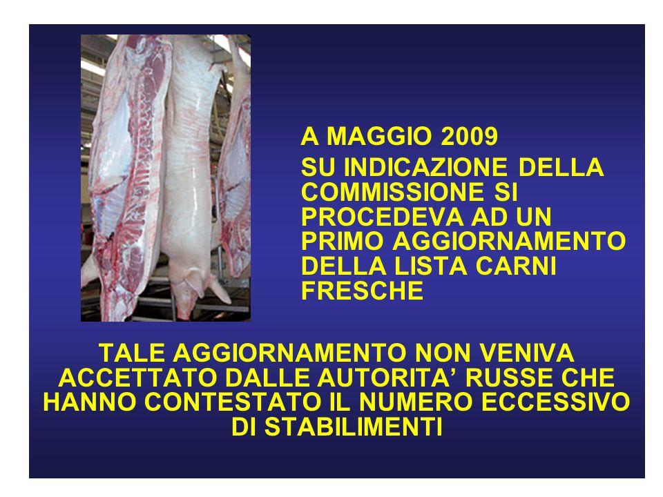 A MAGGIO 2009 SU INDICAZIONE DELLA COMMISSIONE SI PROCEDEVA AD UN PRIMO AGGIORNAMENTO DELLA LISTA CARNI FRESCHE.