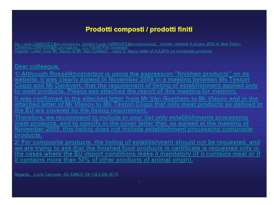 Prodotti composti / prodotti finiti