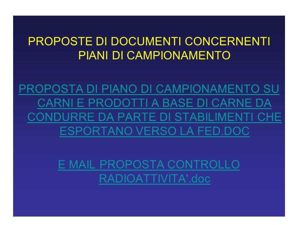 PROPOSTE DI DOCUMENTI CONCERNENTI PIANI DI CAMPIONAMENTO