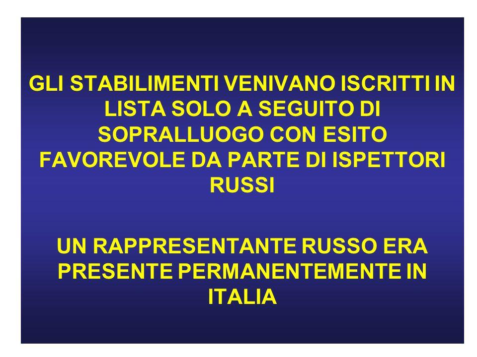 UN RAPPRESENTANTE RUSSO ERA PRESENTE PERMANENTEMENTE IN ITALIA