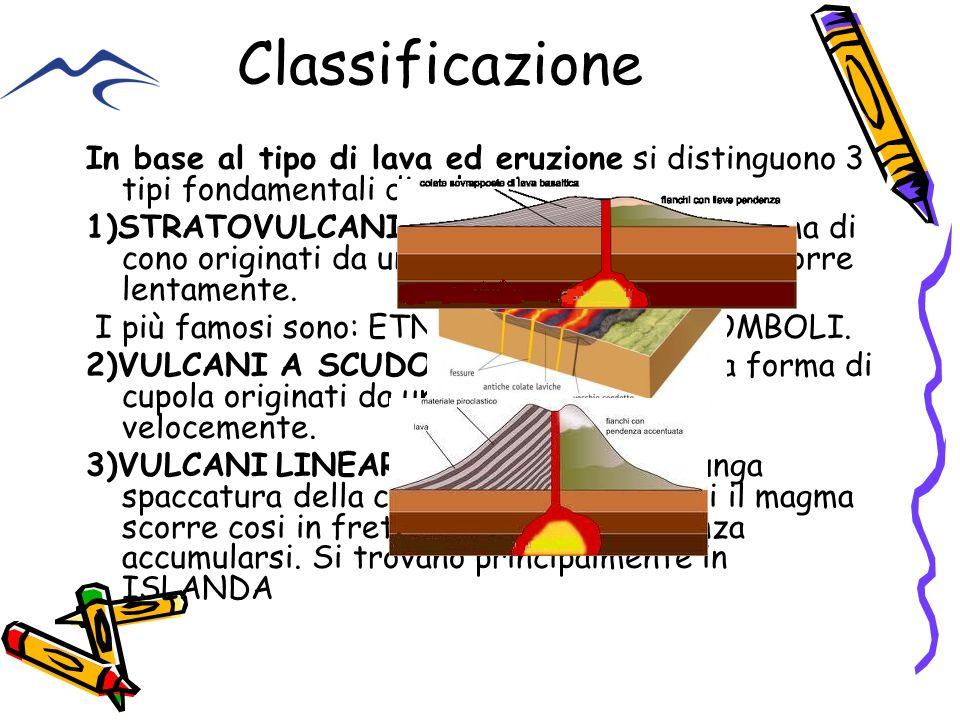 Classificazione In base al tipo di lava ed eruzione si distinguono 3 tipi fondamentali di vulcani :