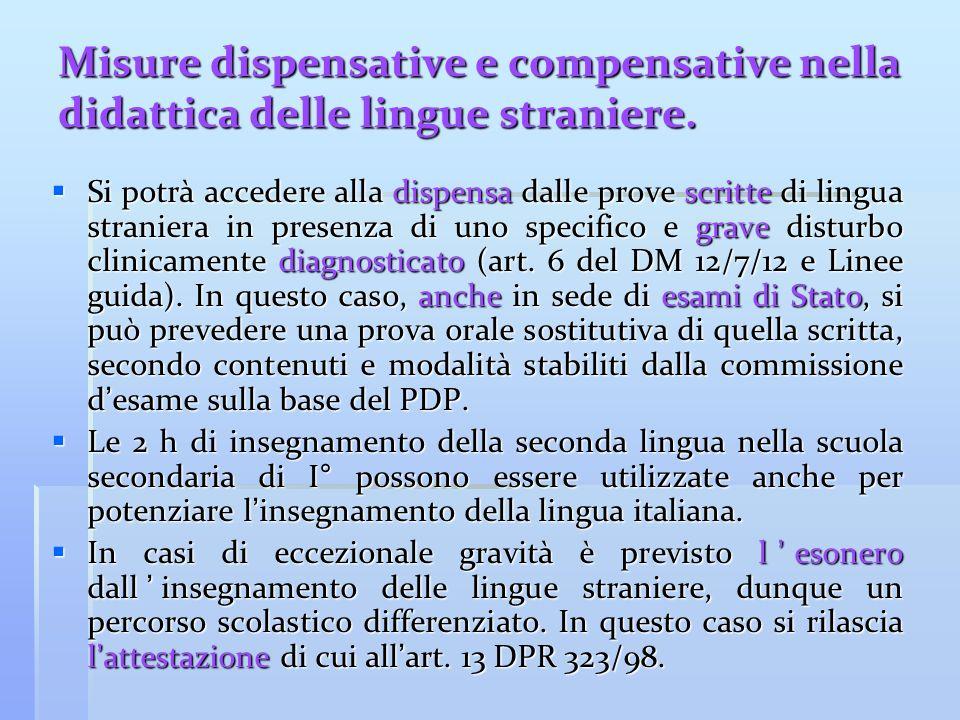 Misure dispensative e compensative nella didattica delle lingue straniere.