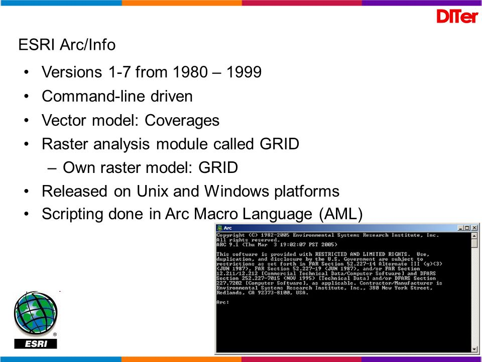 ESRI Arc/InfoVersions 1-7 from 1980 – 1999. Command-line driven. Vector model: Coverages. Raster analysis module called GRID.