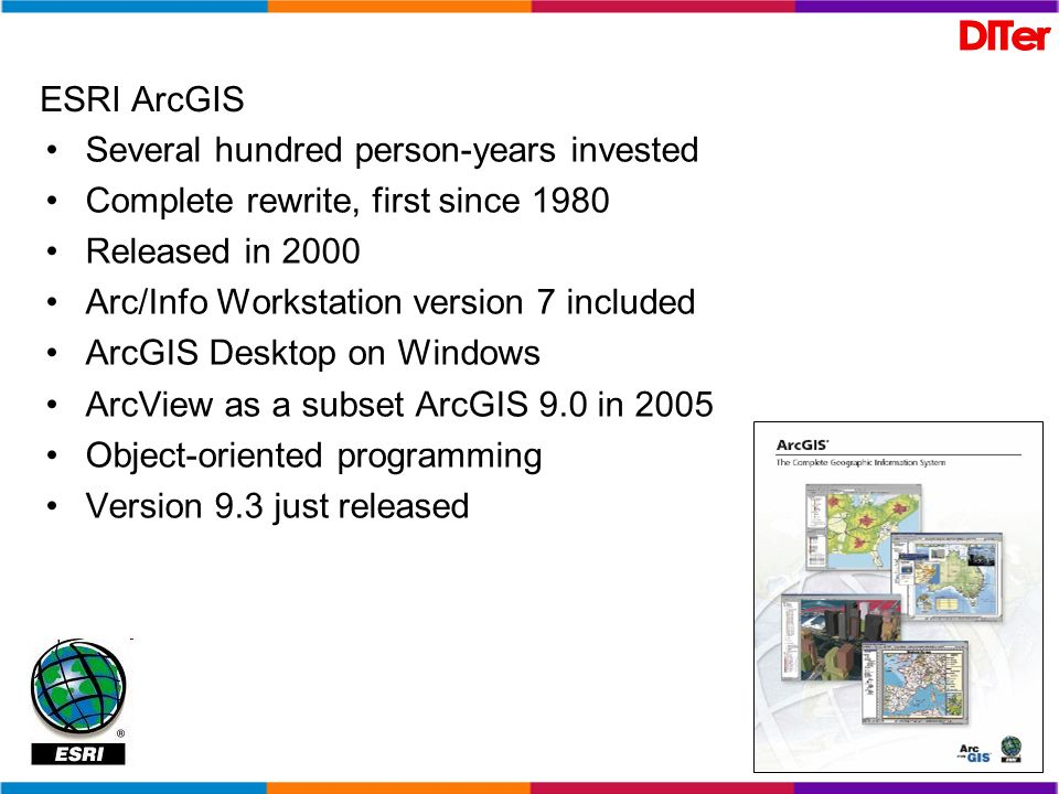 ESRI ArcGISSeveral hundred person-years invested. Complete rewrite, first since 1980. Released in 2000.