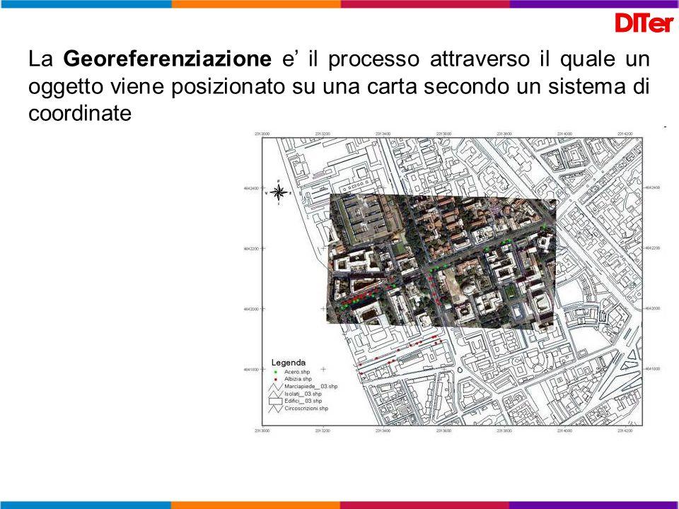 La Georeferenziazione e' il processo attraverso il quale un oggetto viene posizionato su una carta secondo un sistema di coordinate