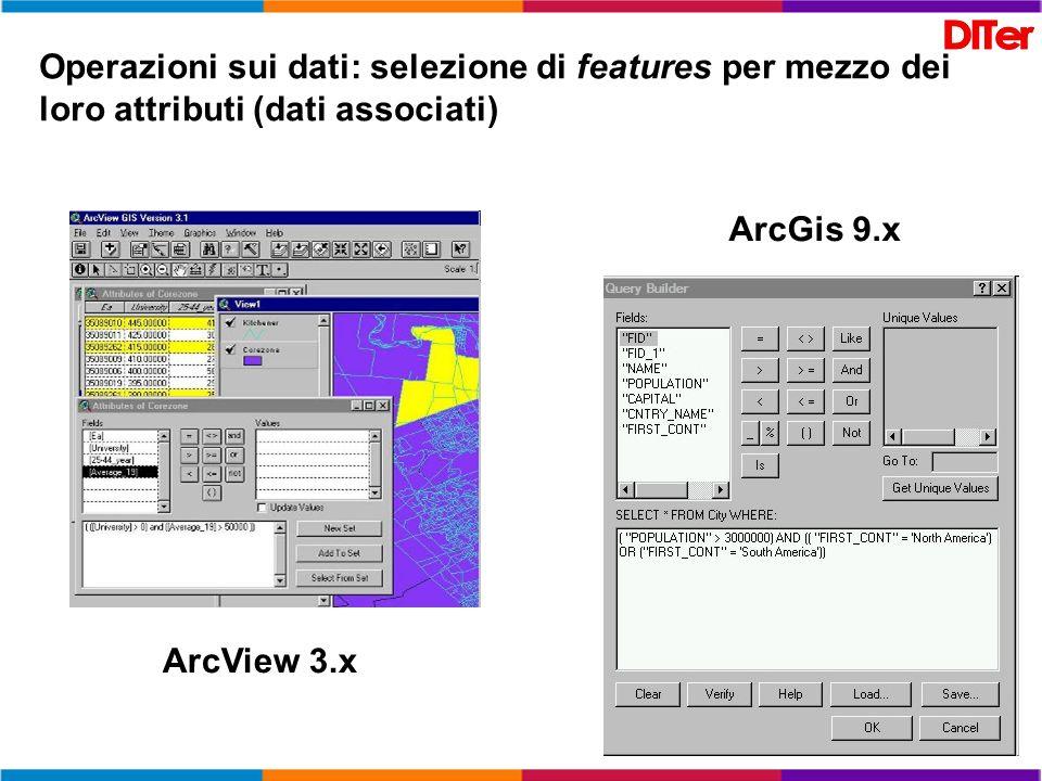Operazioni sui dati: selezione di features per mezzo dei loro attributi (dati associati)