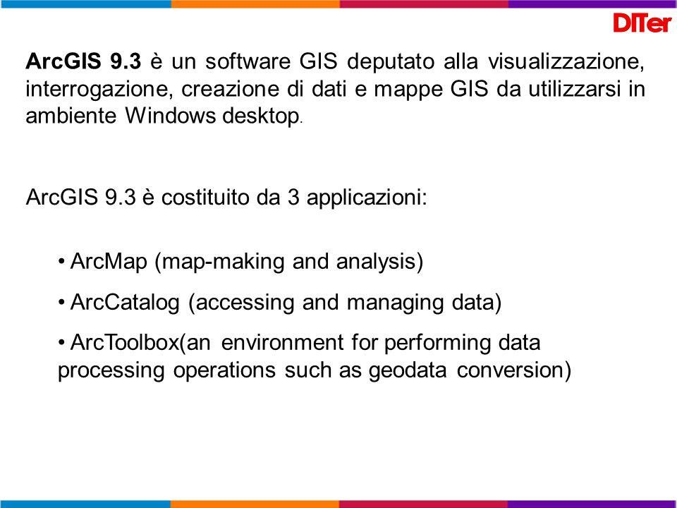 ArcGIS 9.3 è un software GIS deputato alla visualizzazione, interrogazione, creazione di dati e mappe GIS da utilizzarsi in ambiente Windows desktop.
