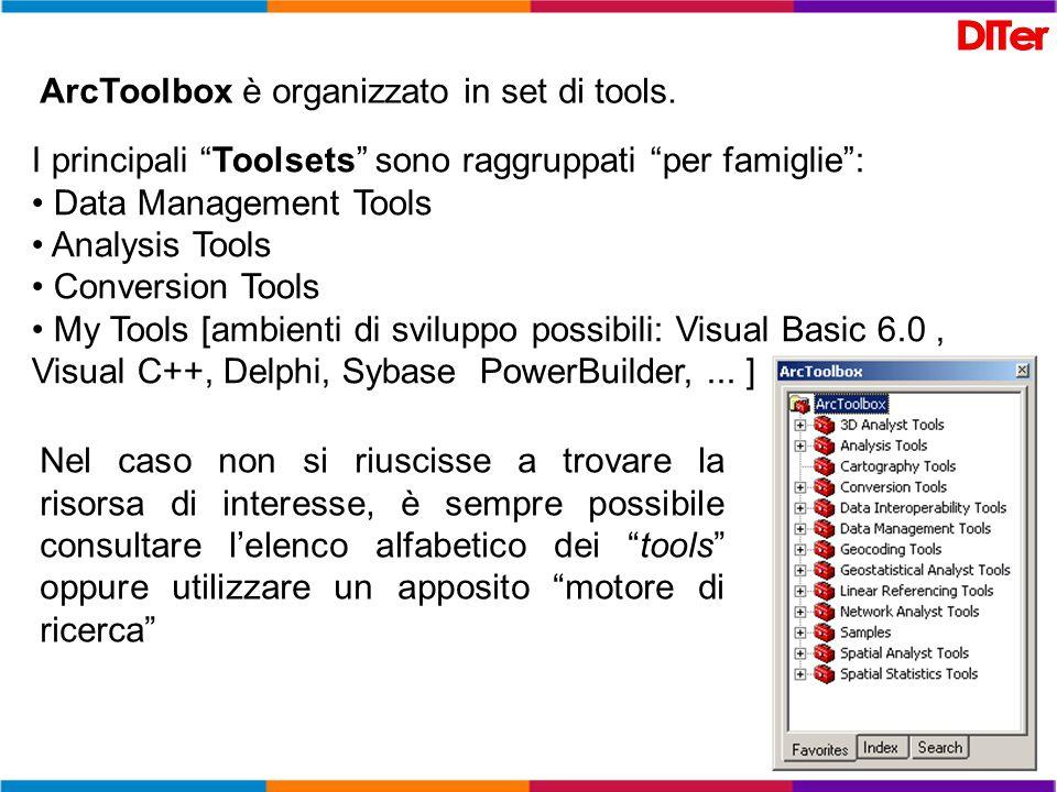 ArcToolbox è organizzato in set di tools.
