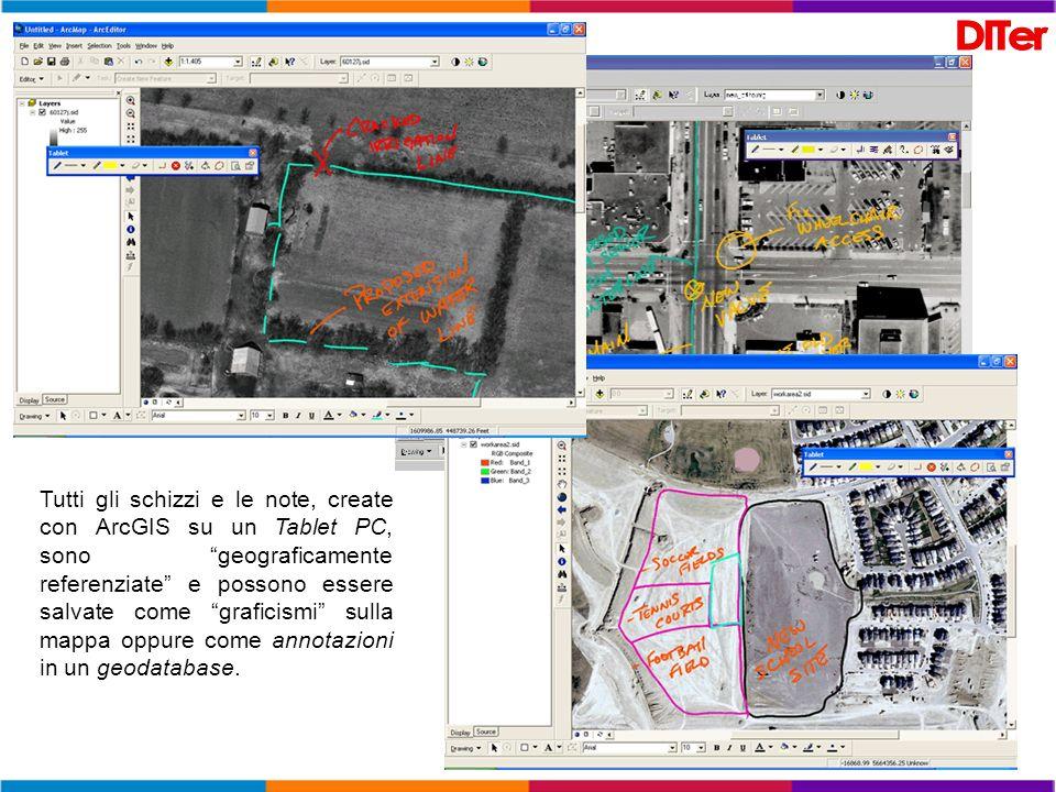 Tutti gli schizzi e le note, create con ArcGIS su un Tablet PC, sono geograficamente referenziate e possono essere salvate come graficismi sulla mappa oppure come annotazioni in un geodatabase.
