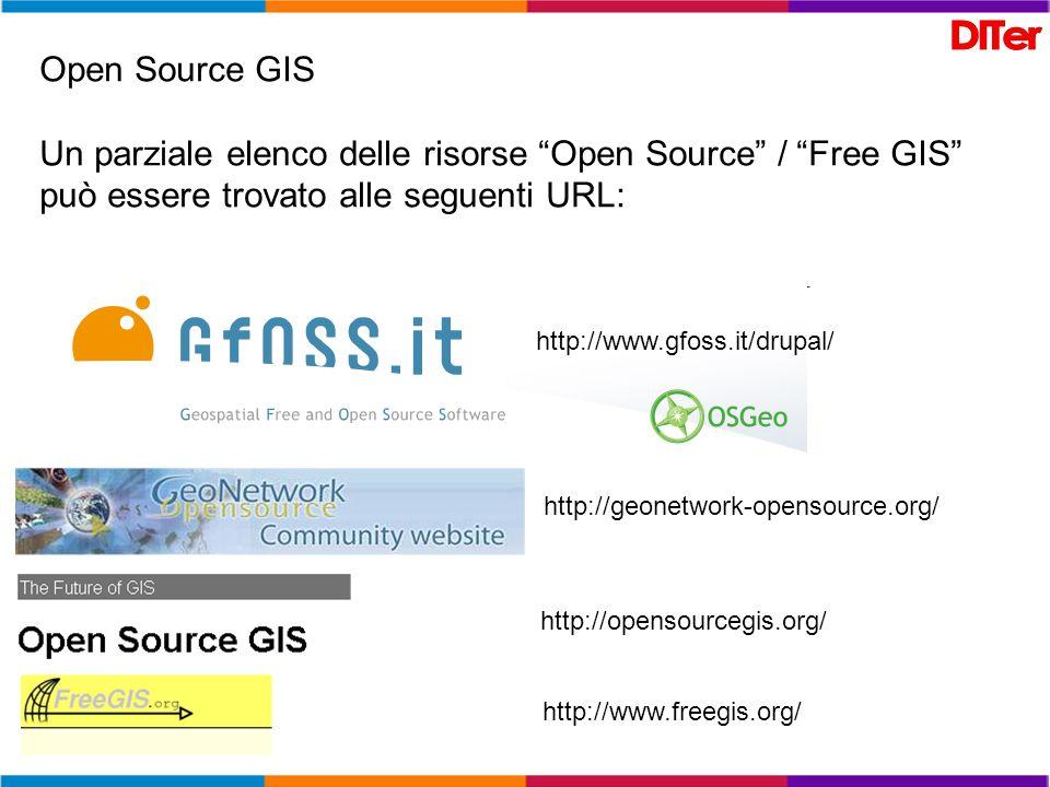 Open Source GISUn parziale elenco delle risorse Open Source / Free GIS può essere trovato alle seguenti URL: