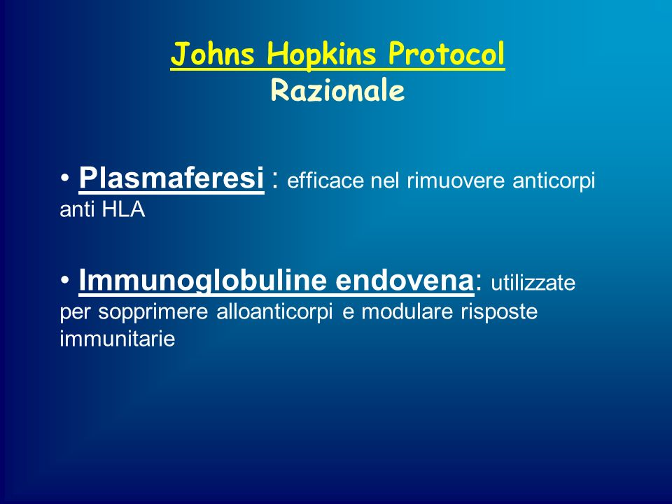 Johns Hopkins Protocol Razionale