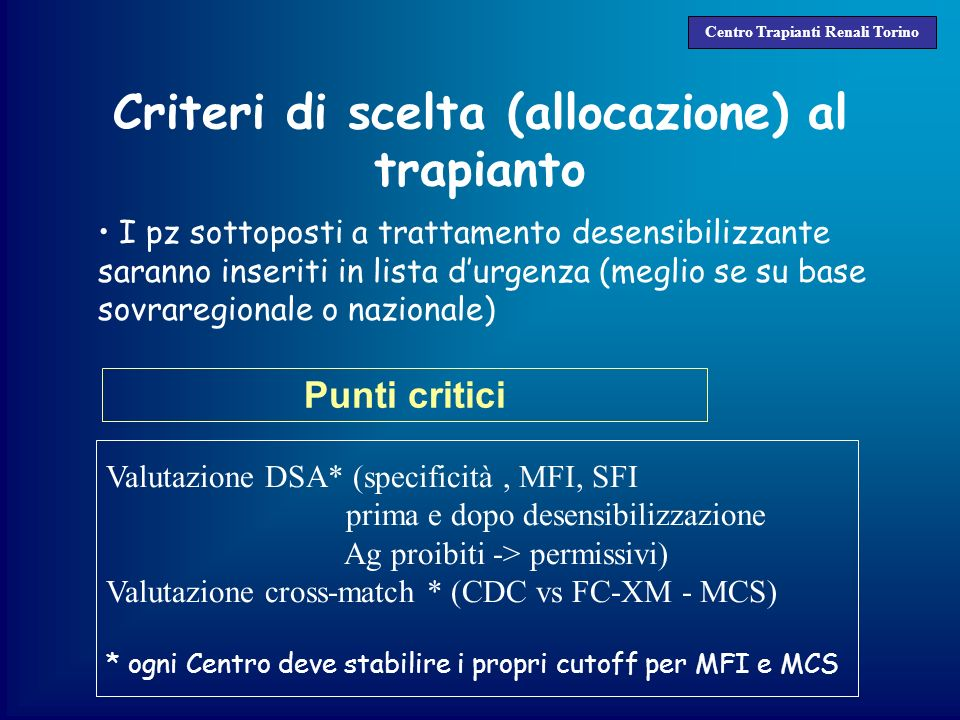 Criteri di scelta (allocazione) al trapianto