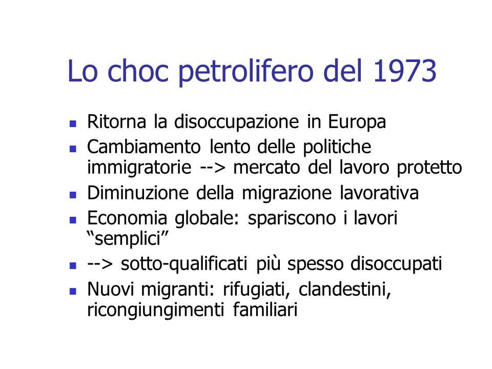 Lo choc petrolifero del 1973