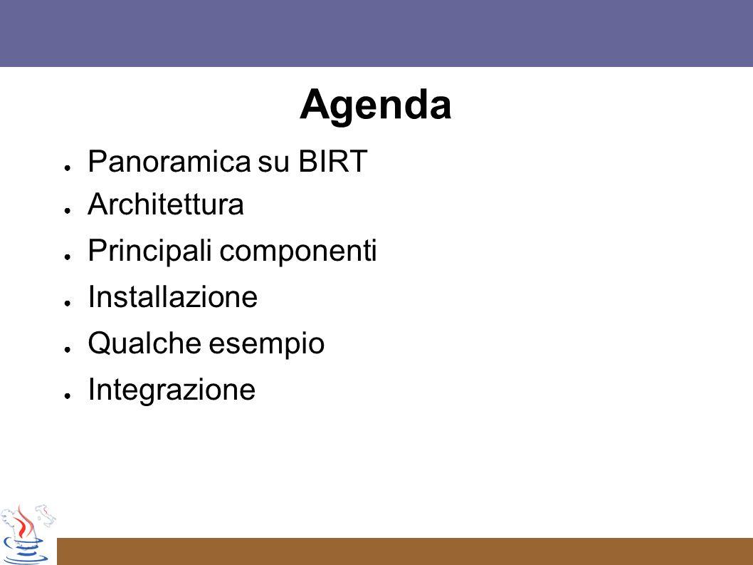 Agenda Panoramica su BIRT Architettura Principali componenti