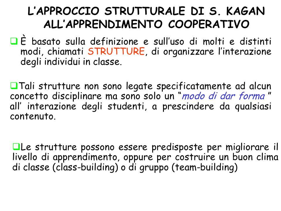 L'APPROCCIO STRUTTURALE DI S. KAGAN ALL'APPRENDIMENTO COOPERATIVO