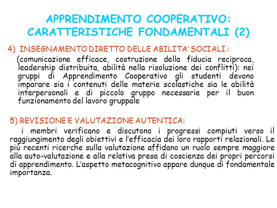 APPRENDIMENTO COOPERATIVO: CARATTERISTICHE FONDAMENTALI (2)