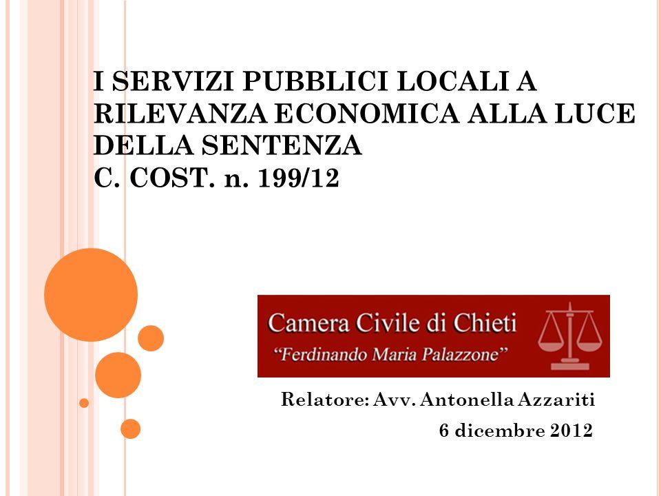 Relatore: Avv. Antonella Azzariti 6 dicembre 2012