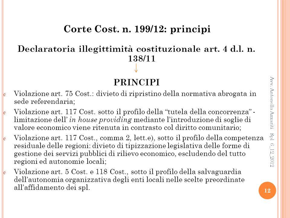Corte Cost. n. 199/12: principi