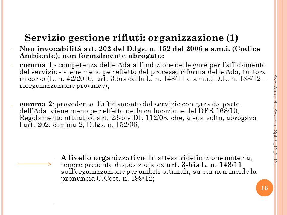 Servizio gestione rifiuti: organizzazione (1)