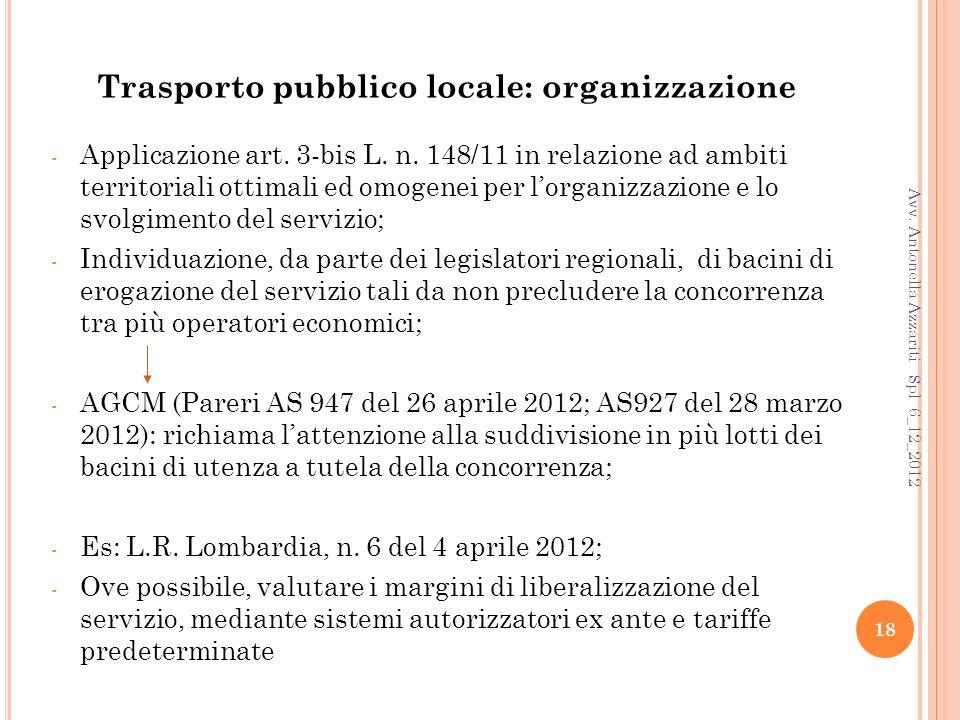 Trasporto pubblico locale: organizzazione