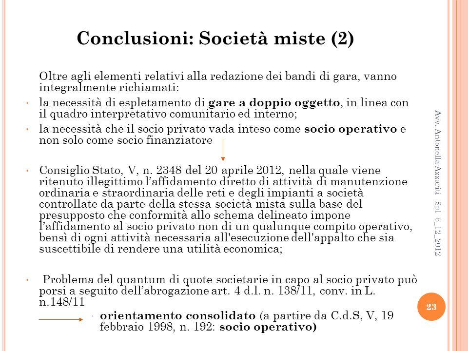 Conclusioni: Società miste (2)