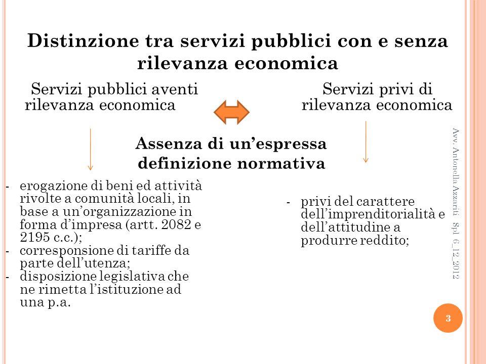 Distinzione tra servizi pubblici con e senza rilevanza economica