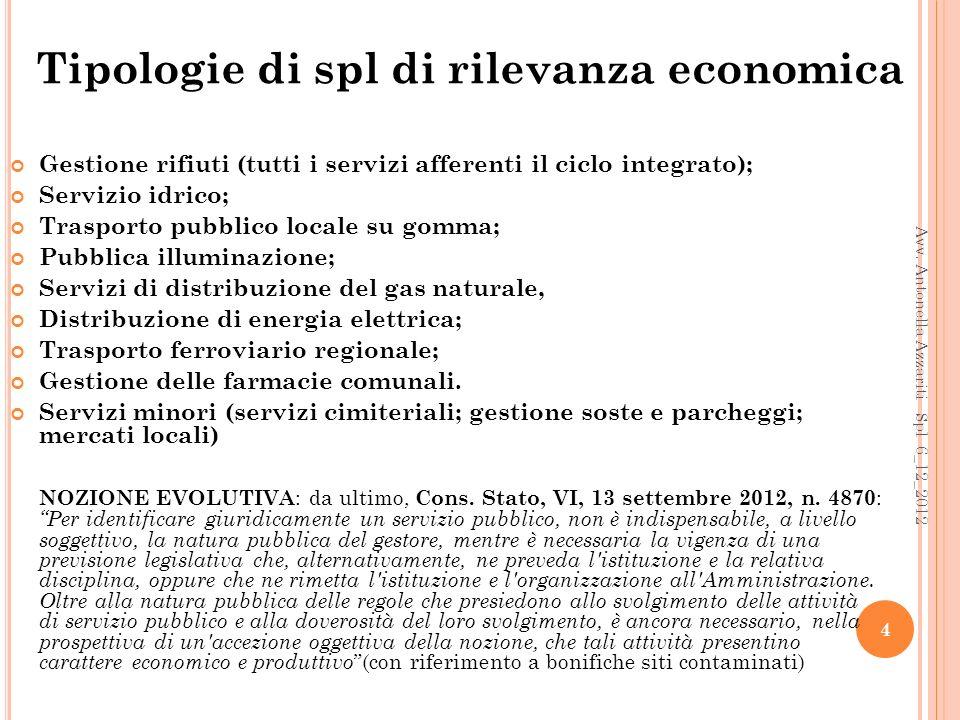 Tipologie di spl di rilevanza economica