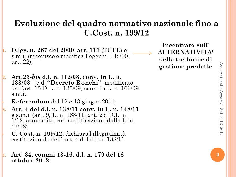 Evoluzione del quadro normativo nazionale fino a C.Cost. n. 199/12