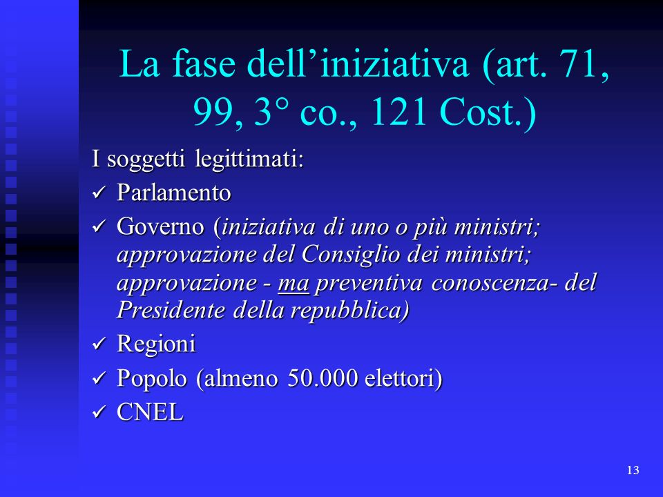 La fase dell'iniziativa (art. 71, 99, 3° co., 121 Cost.)