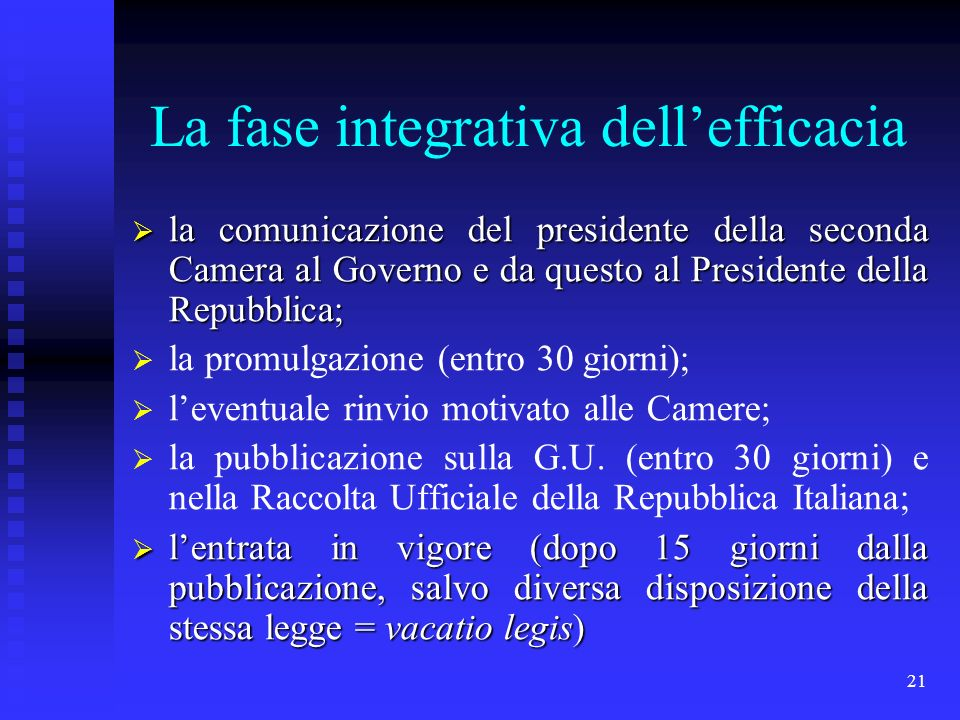 La fase integrativa dell'efficacia