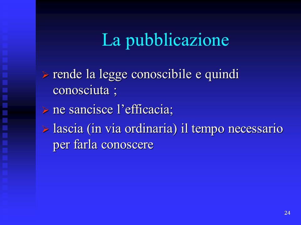 La pubblicazione rende la legge conoscibile e quindi conosciuta ;