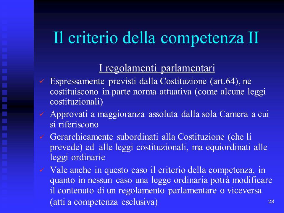 Il criterio della competenza II