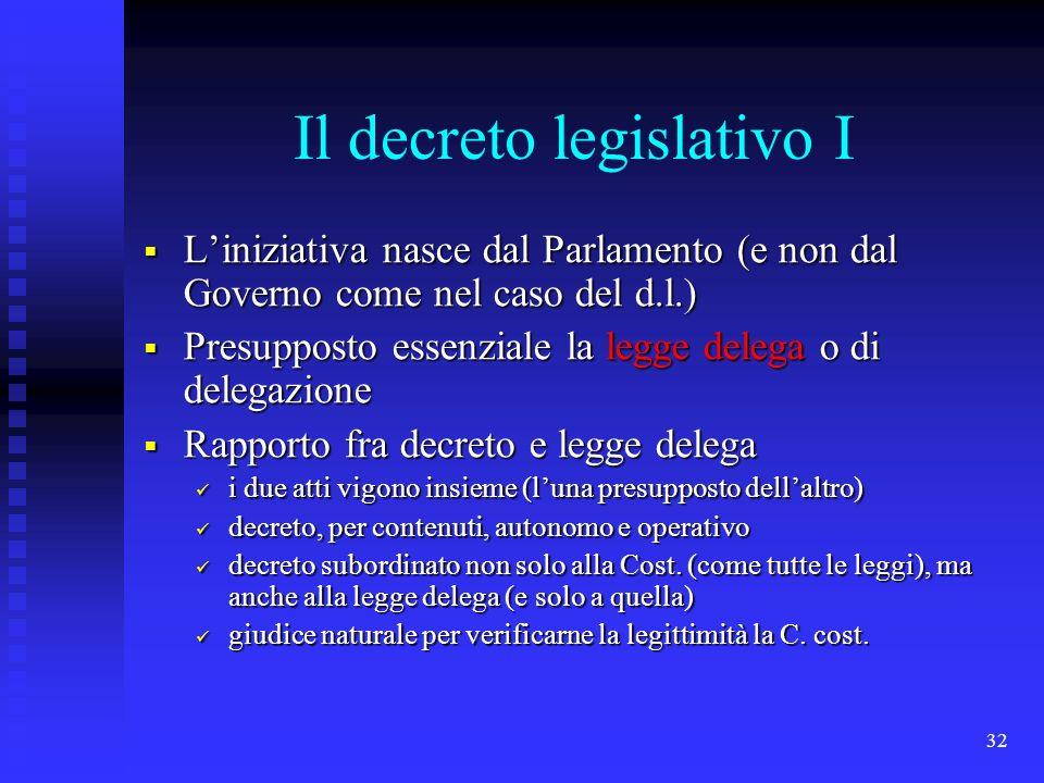 Il decreto legislativo I