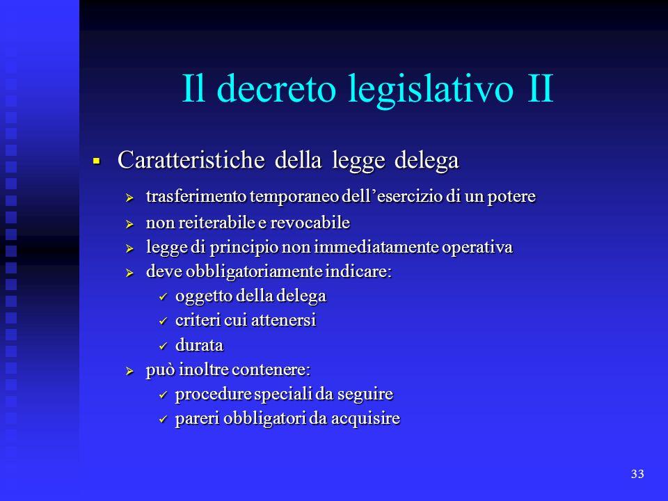 Il decreto legislativo II