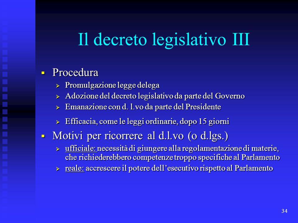 Il decreto legislativo III