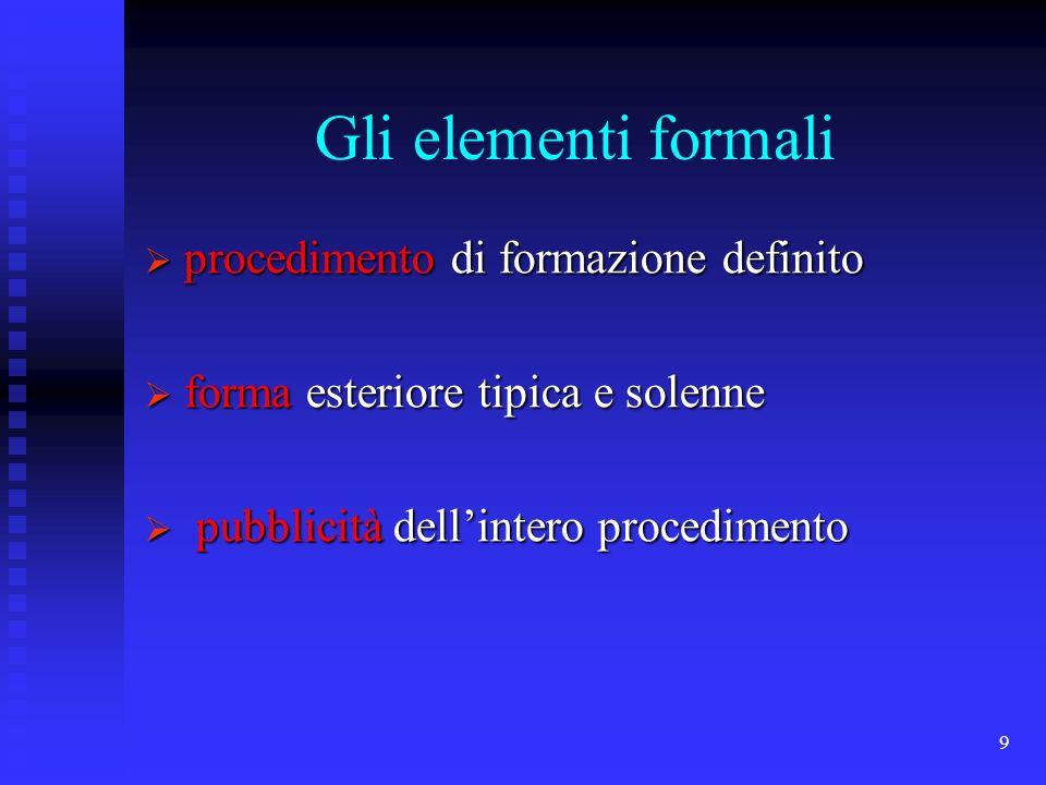 Gli elementi formali procedimento di formazione definito