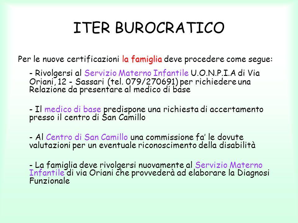 ITER BUROCRATICO Per le nuove certificazioni la famiglia deve procedere come segue: