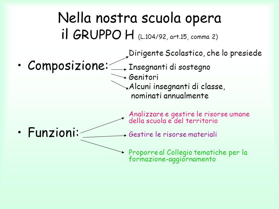 Nella nostra scuola opera il GRUPPO H (L.104/92, art.15, comma 2)