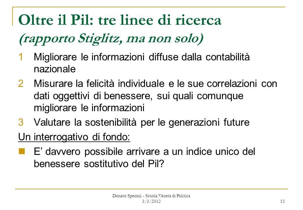 Oltre il Pil: tre linee di ricerca (rapporto Stiglitz, ma non solo)