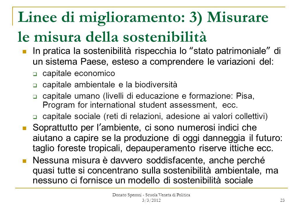 Linee di miglioramento: 3) Misurare le misura della sostenibilità